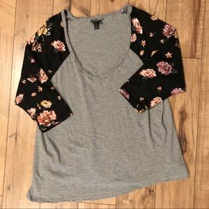 Torrid gray black floral long sleeve top